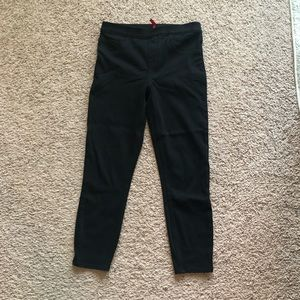 spanx black denim crop leggings